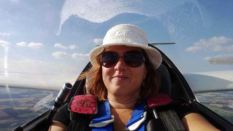 Selfie im Segelflugzeug